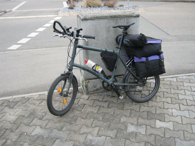The bike loaded with the bag for the test ride